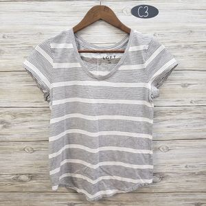 Loft White & Black Striped Short Sleeve Top